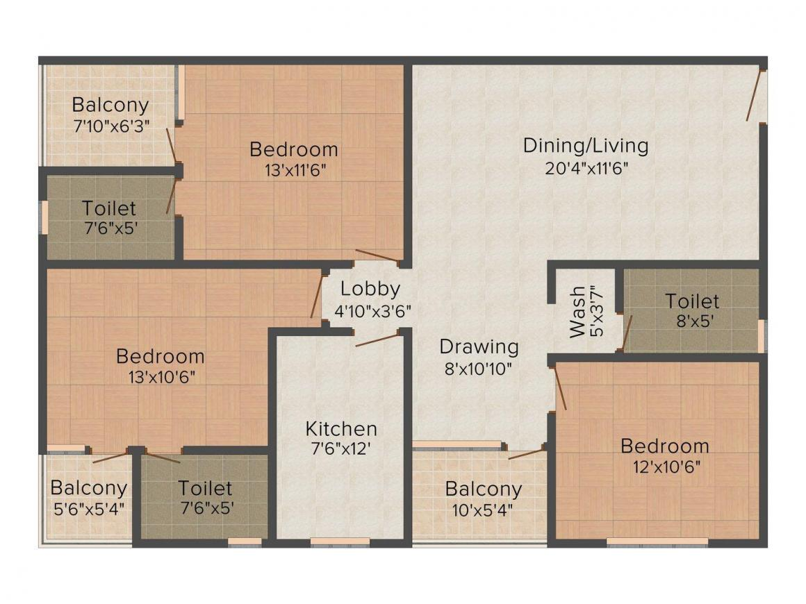 Coral Subhniwas Floor Plan: 3 BHK Unit with Built up area of 1564 sq.ft 1