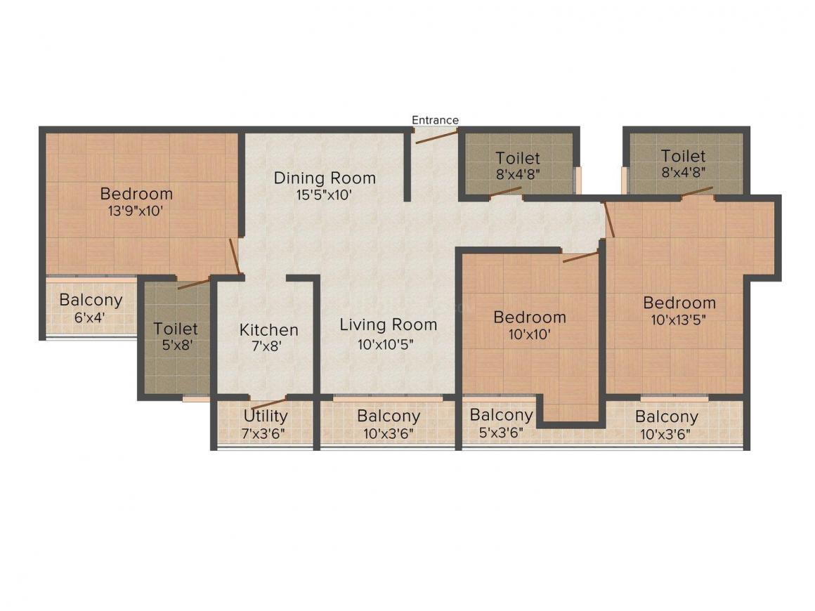 Floor Plan Image of 0 - 1580 Sq.ft 3 BHK Apartment for buy in Metro Avenue