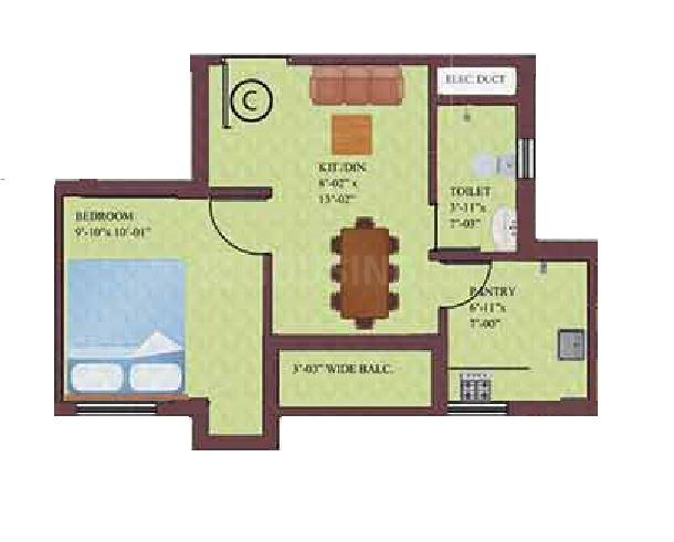 Eden Horizon Floor Plan: 1 BHK Unit with Built up area of 512 sq.ft 1