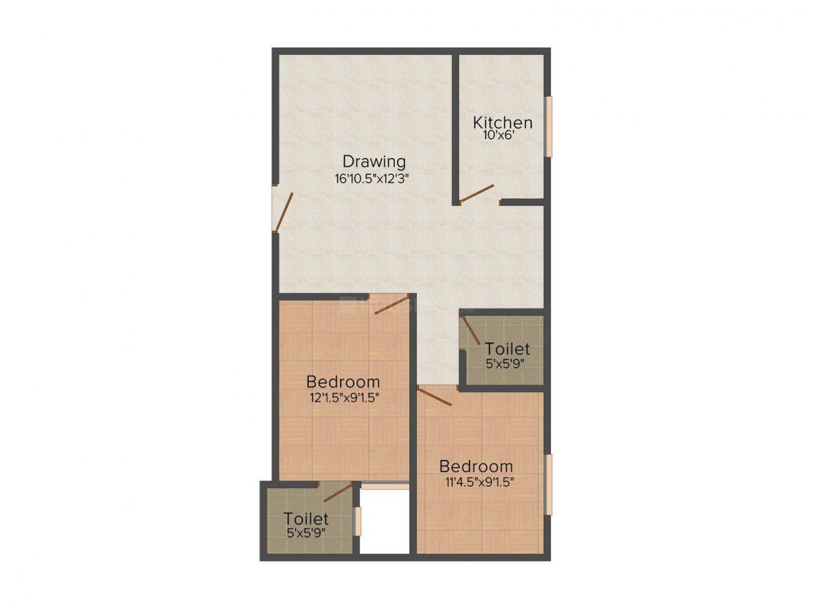 Gupta Homes - II Floor Plan: 2 BHK Unit with Built up area of 540 sq.ft 1