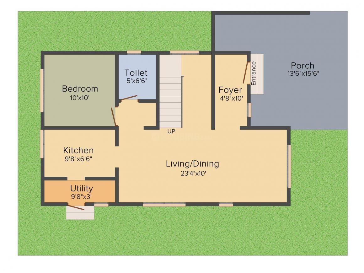 Floor Plan Image of 476.0 - 824.0 Sq.ft 1 BHK Villa for buy in Shriram Santrupthi