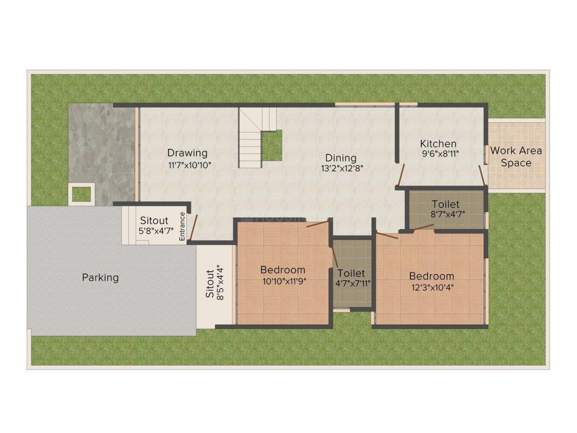 Floor Plan Image of 2158 - 2587 Sq.ft 4 BHK Villa for buy in Nest The World Villas
