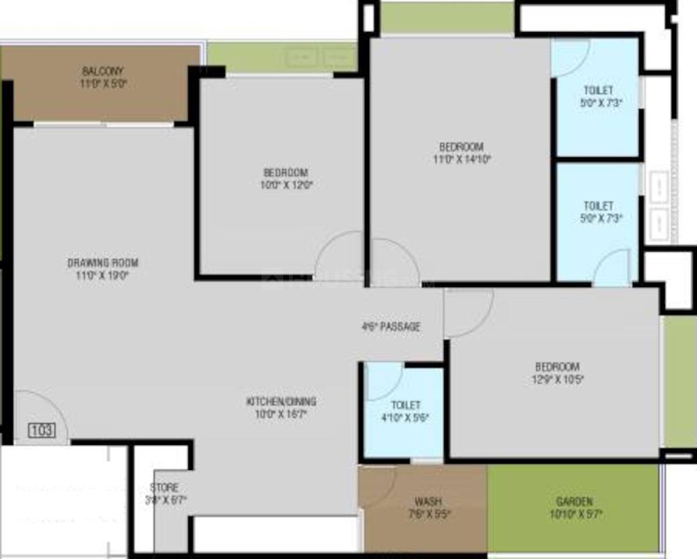 Ridham Aditya Altuss Floor Plan: 3 BHK Unit with Built up area of 963 sq.ft 1