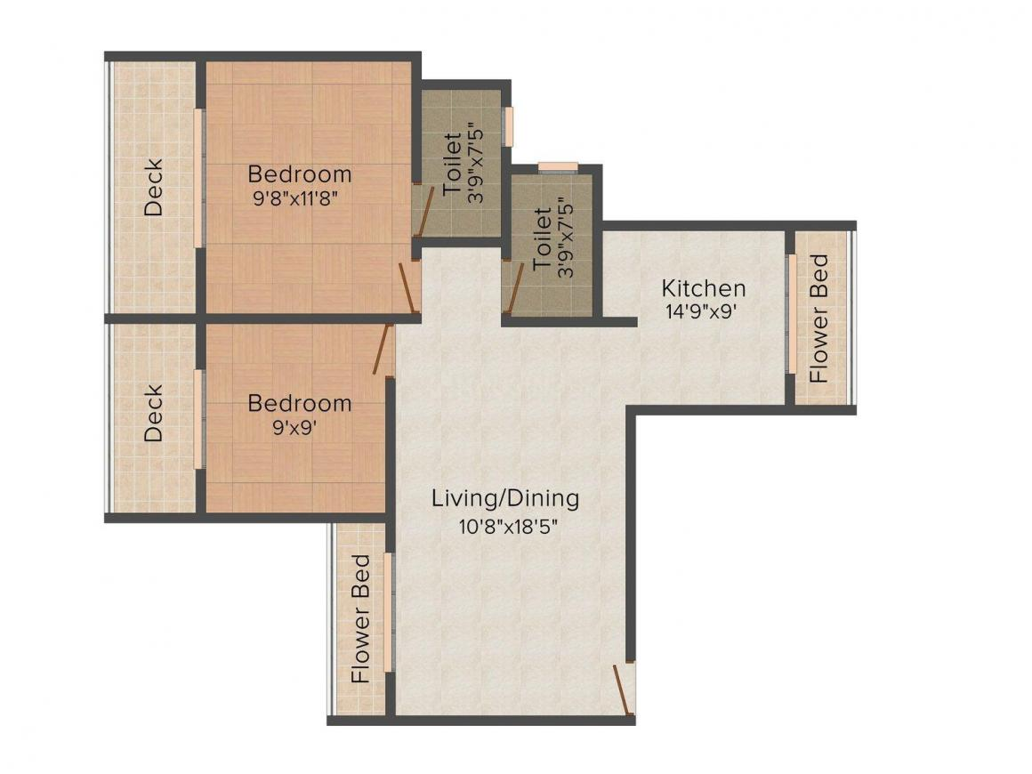 Floor Plan Image of 0 - 974 Sq.ft 2 BHK Apartment for buy in Planet Builders Maitri Planet
