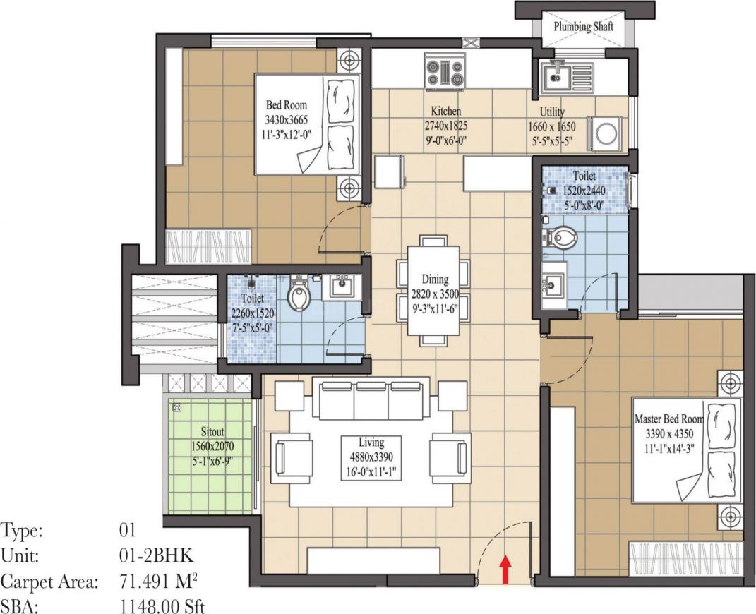 Navami Landmaark Floor Plan: 2 BHK Unit with Built up area of 770 sq.ft 1