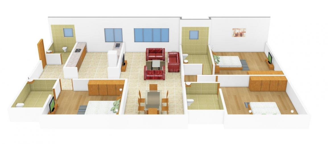 Nipra Diamond Plaza Floor Plan: 3 BHK Unit with Built up area of 1899 sq.ft 1
