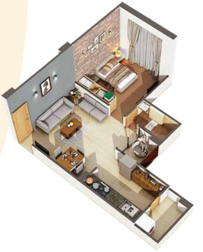 Malhar Greens Floor Plan: 1 BHK Unit with Built up area of 381 sq.ft 1