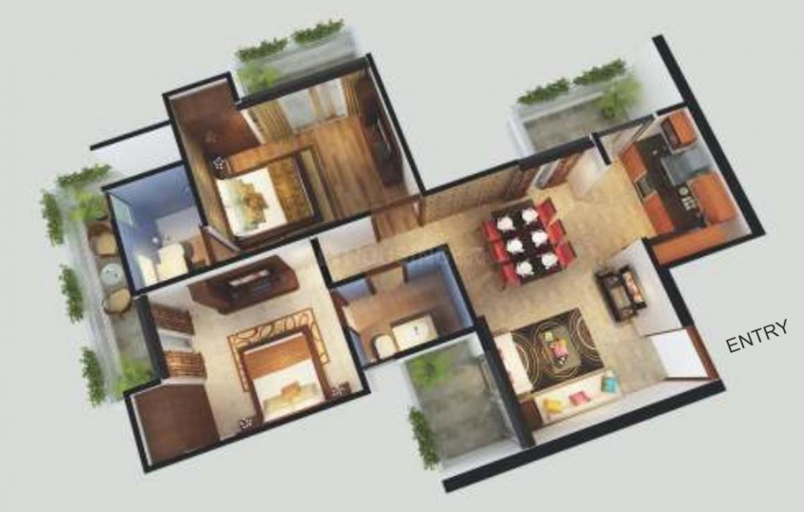 Sports Home Phase 2 Floor Plan: 2 BHK Unit with Built up area of 615 sq.ft 1