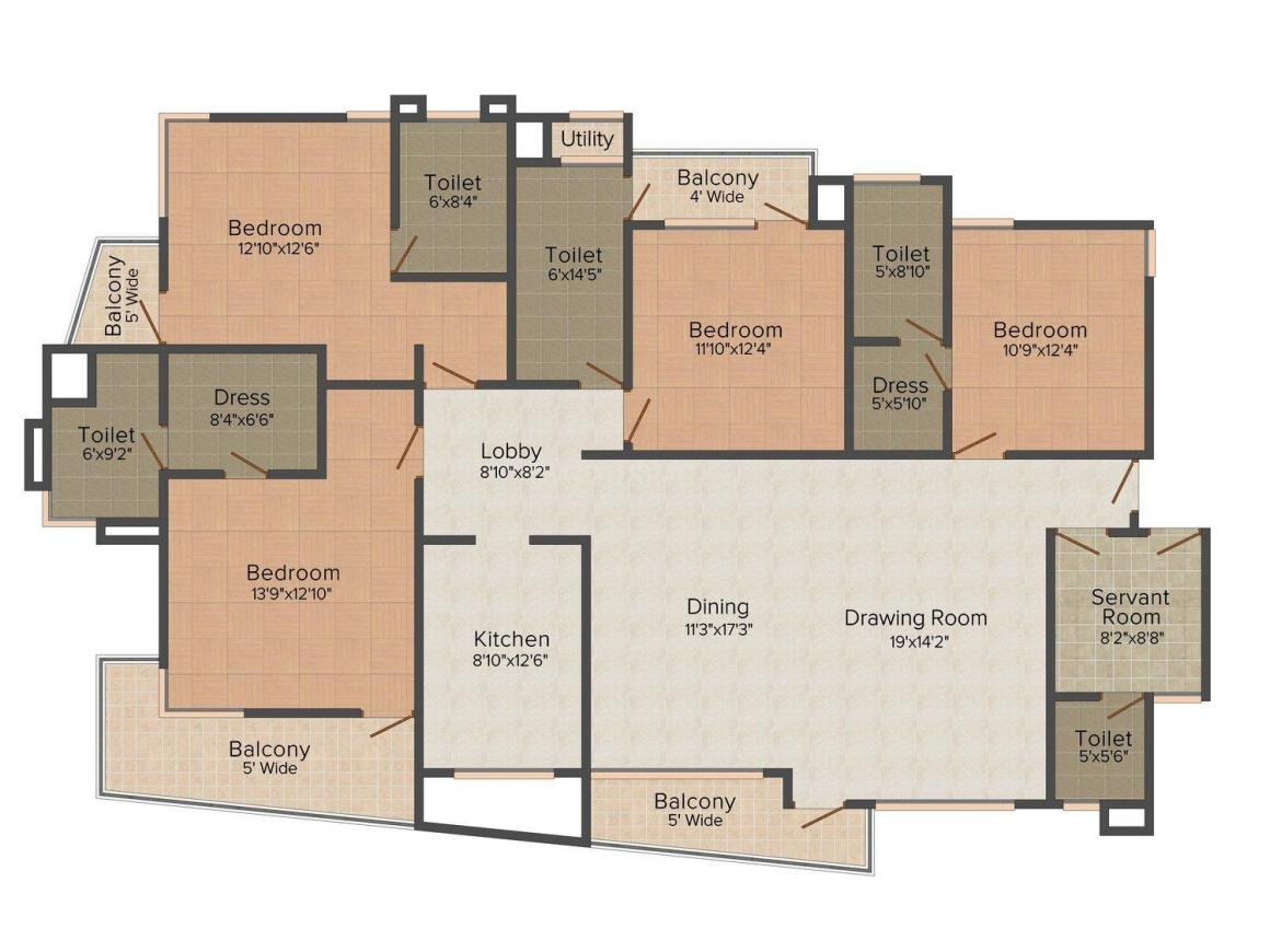 Floor Plan Image of 0 - 2720.0 Sq.ft 4 BHK Apartment for buy in SEZ View Sunshine Heights