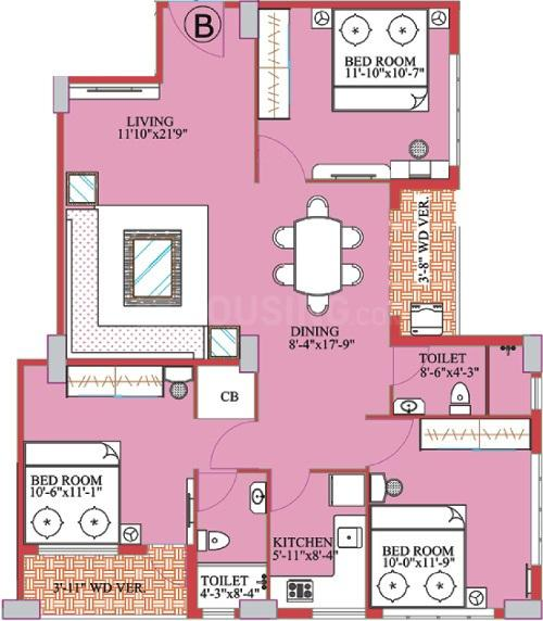 Meharia Windsor Heights Floor Plan: 3 BHK Unit with Built up area of 1405 sq.ft 1