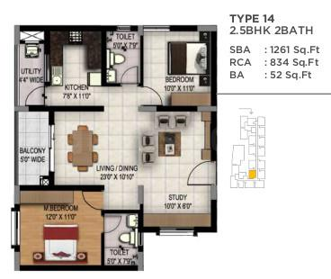 Maarq Alpha Floor Plan: 2 BHK Unit with Built up area of 1261 sq.ft 1