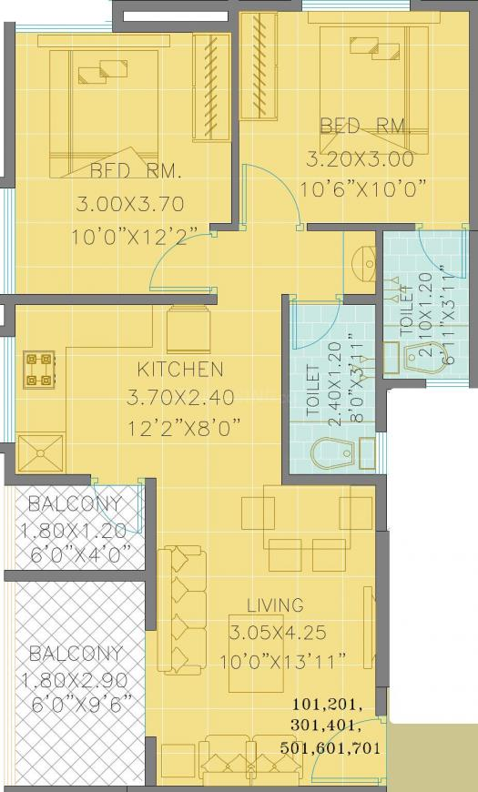 Swasti Shree Floor Plan: 2 BHK Unit with Built up area of 639 sq.ft 1