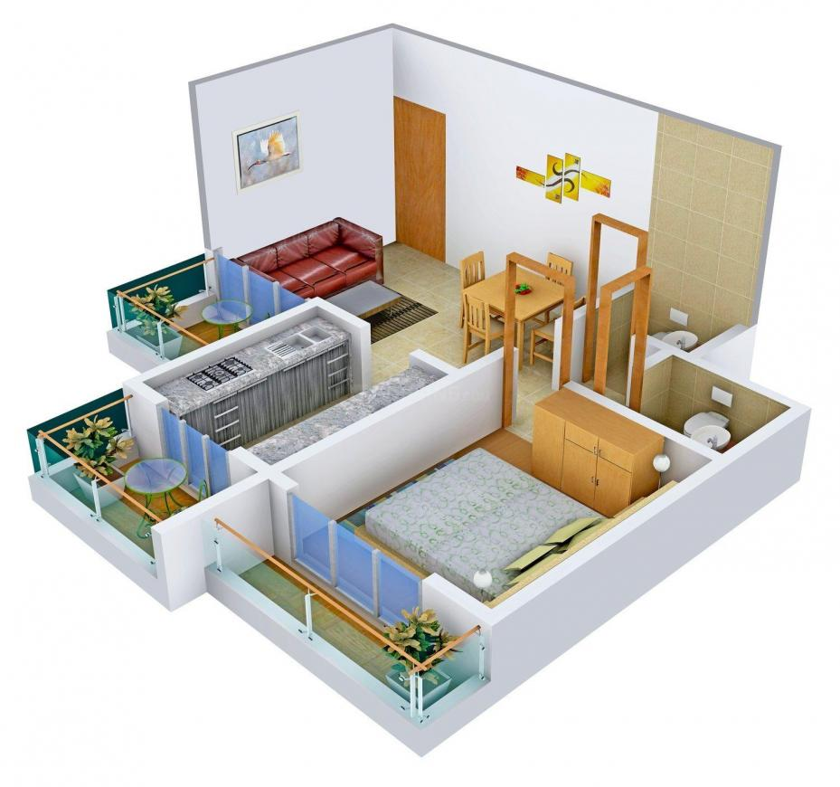 Dhanshree Dhana Shree Pearl Floor Plan: 1 BHK Unit with Built up area of 637 sq.ft 1