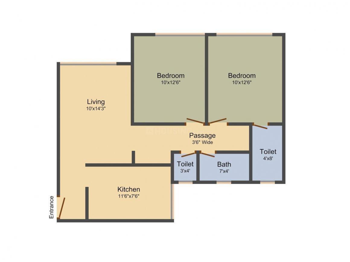 Floor Plan Image of 890 - 1353 Sq.ft 2 BHK Apartment for buy in Nestor Sai Sun City Meridian