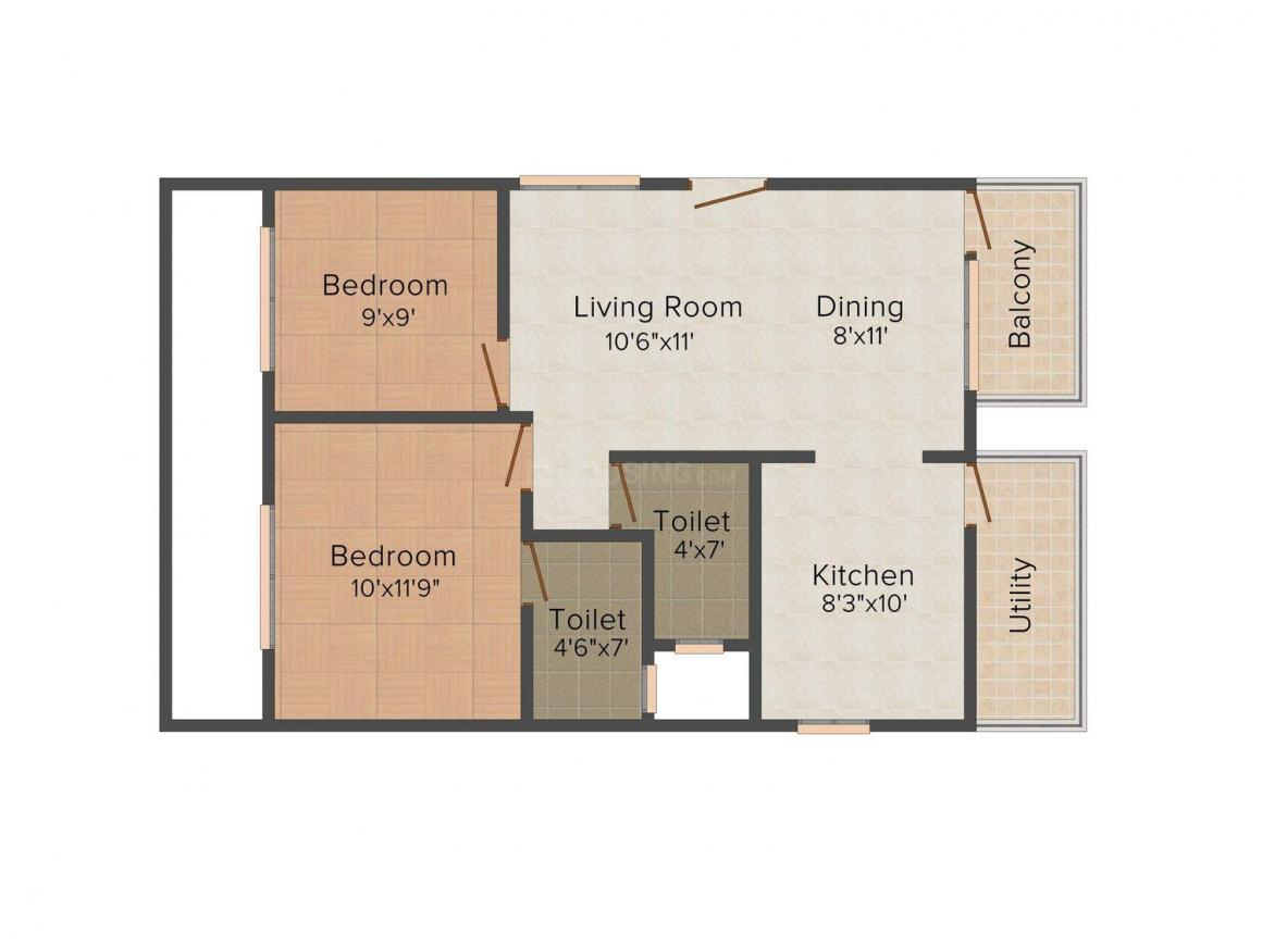 Floor Plan Image of 856 - 1765 Sq.ft 2 BHK Apartment for buy in KRS- Hill View