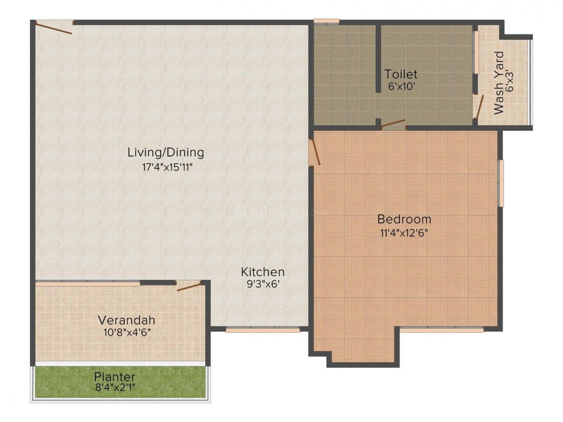 AG8 The Nest Floor Plan: 1 BHK Unit with Built up area of 875 sq.ft 1