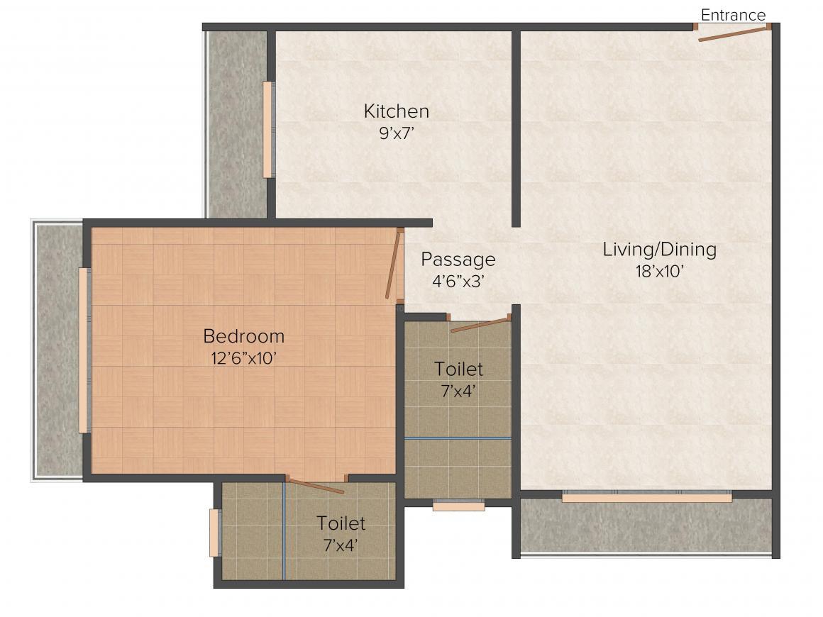 Floor Plan Image of 454.99 - 666.39 Sq.ft 1 BHK Apartment for buy in Regent Galaxy