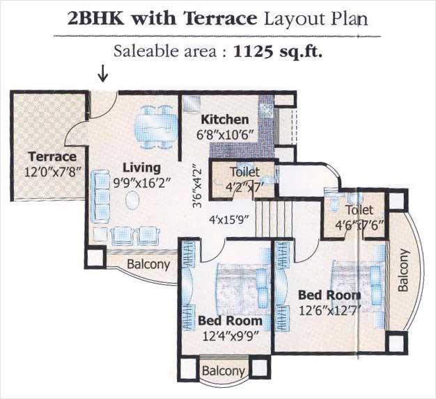 Keshav Kunj 2 Floor Plan: 2 BHK Unit with Built up area of 1125 sq.ft 1