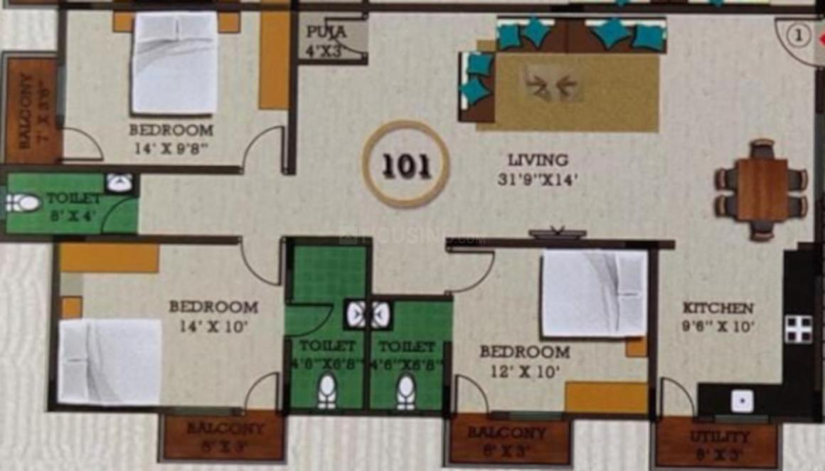 YD Devi Kunj Floor Plan: 3 BHK Unit with Built up area of 1415 sq.ft 1