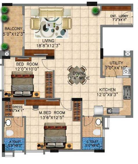 Vedant Vihas Floor Plan: 2 BHK Unit with Built up area of 1080 sq.ft 1