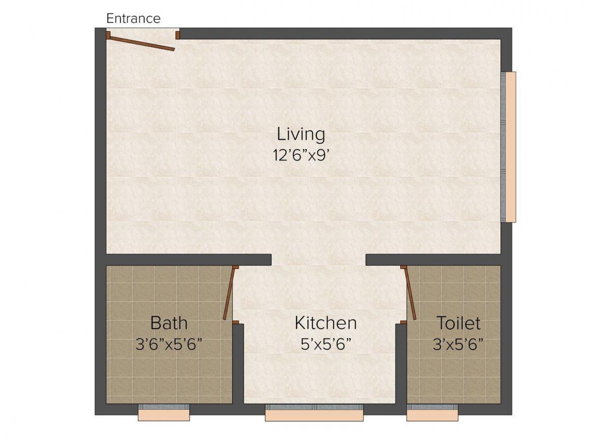 Floor Plan Image of 265 - 595 Sq.ft 1 RK Apartment for buy in Shreya Nest Shri Apartment