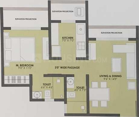 JP JP Estella Floor Plan: 1 BHK Unit with Built up area of 693 sq.ft 2
