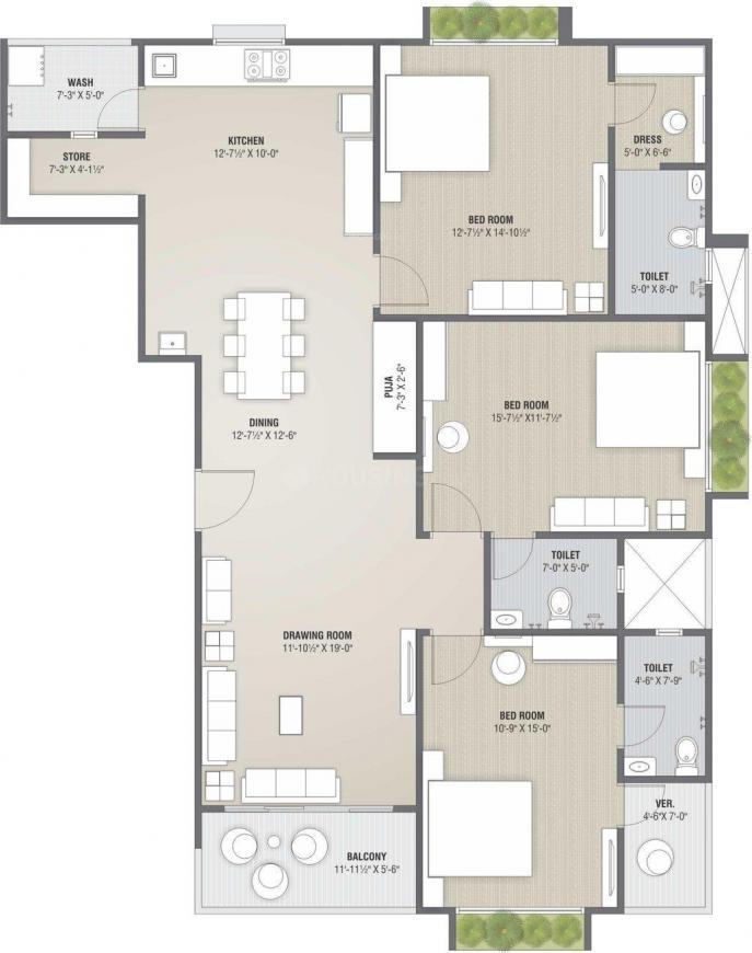 Yashvi Dev Floor Plan: 3 BHK Unit with Built up area of 2457 sq.ft 1