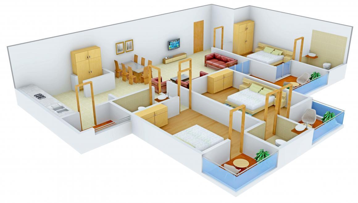 Shree Radha Jaldeep Vertex Floor Plan: 3 BHK Unit with Built up area of 2411 sq.ft 1
