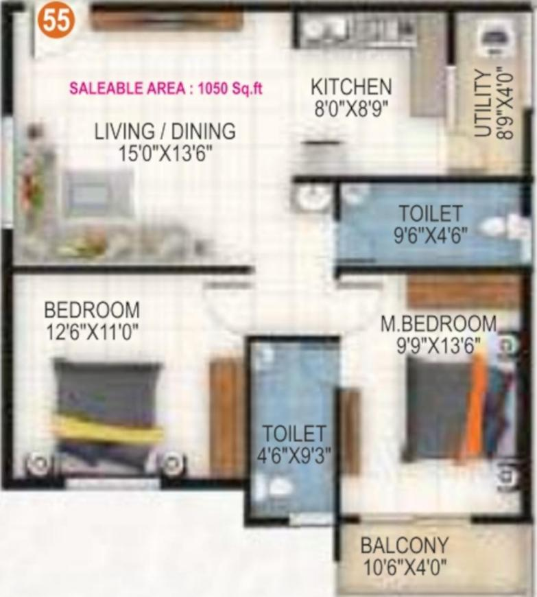 White Woods Floor Plan: 2 BHK Unit with Built up area of 1050 sq.ft 1