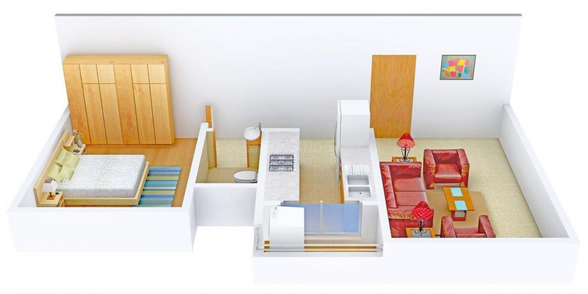 Floor Plan Image of 460.0 - 650.0 Sq.ft 1 BHK Apartment for buy in Goldstar Kinchin