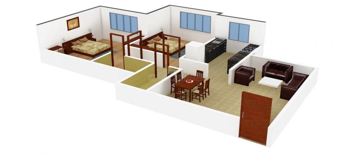 Floor Plan Image of 750.0 - 1050.0 Sq.ft 2 BHK Apartment for buy in Shivraj Abhishmit