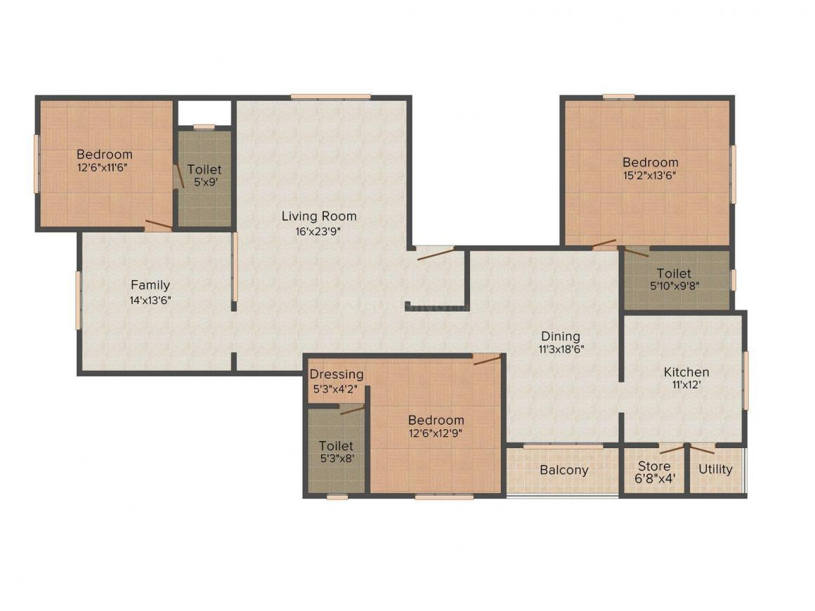 Floor Plan Image of 0 - 1920.0 Sq.ft 3 BHK Apartment for buy in Wama Insha