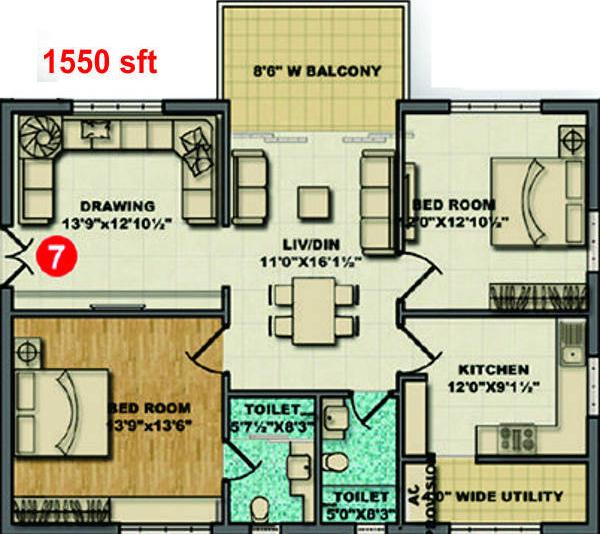 Aditya Capitol Heights Floor Plan: 2 BHK Unit with Built up area of 1550 sq.ft 1