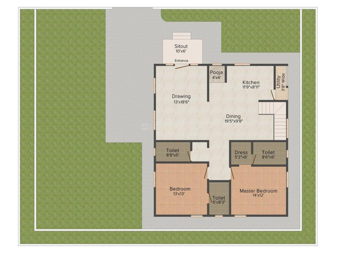 Fortune Doctor's Colony Floor Plan: 2 BHK Unit with Built up area of 1576 sq.ft 1