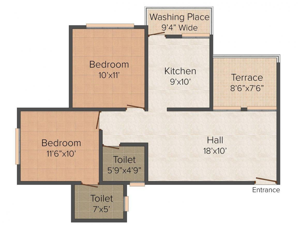 Floor Plan Image of 865 - 1330 Sq.ft 2 BHK Apartment for buy in Viraj Atlantis
