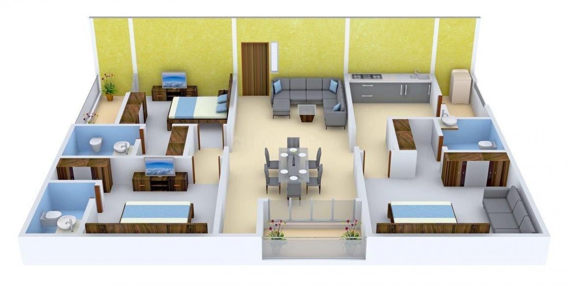 Sajjan Kesariya Mansion Floor Plan: 3 BHK Unit with Built up area of 2000 sq.ft 1