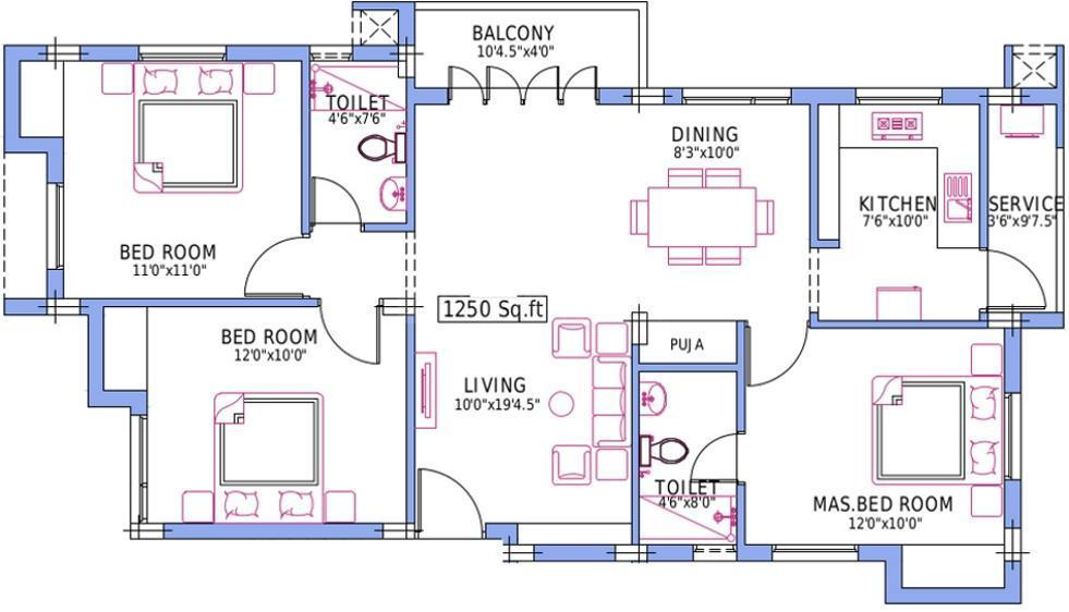Pushkar Spring Field Floor Plan: 3 BHK Unit with Built up area of 1250 sq.ft 1