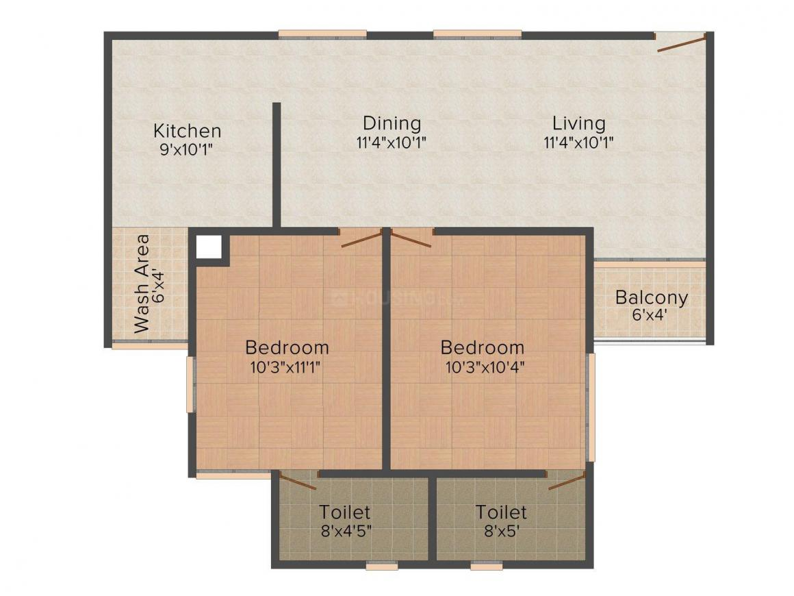 Floor Plan Image of 1005.0 - 1634.0 Sq.ft 2 BHK Apartment for buy in DD Diamond District - Tower III
