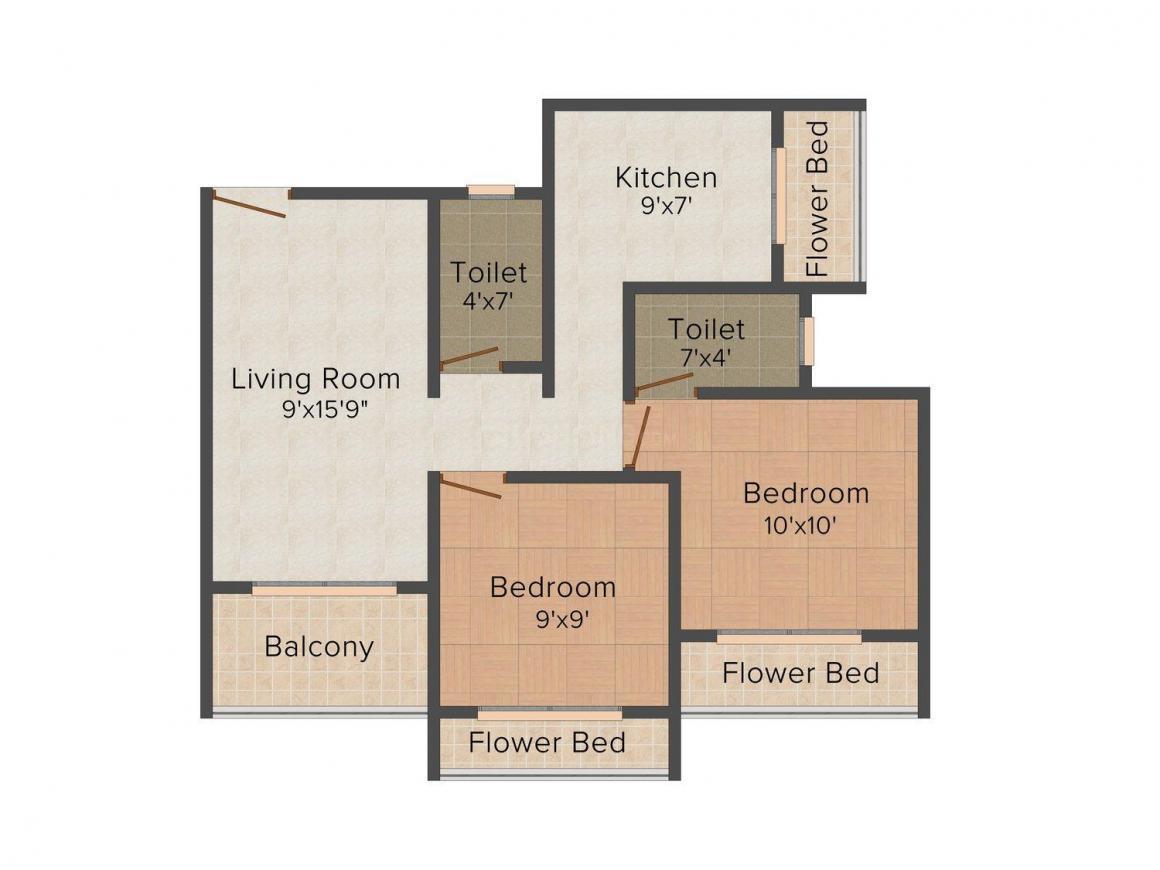 Floor Plan Image of 450.0 - 730.0 Sq.ft 1 BHK Apartment for buy in Om Sai  Jalaram Apartment