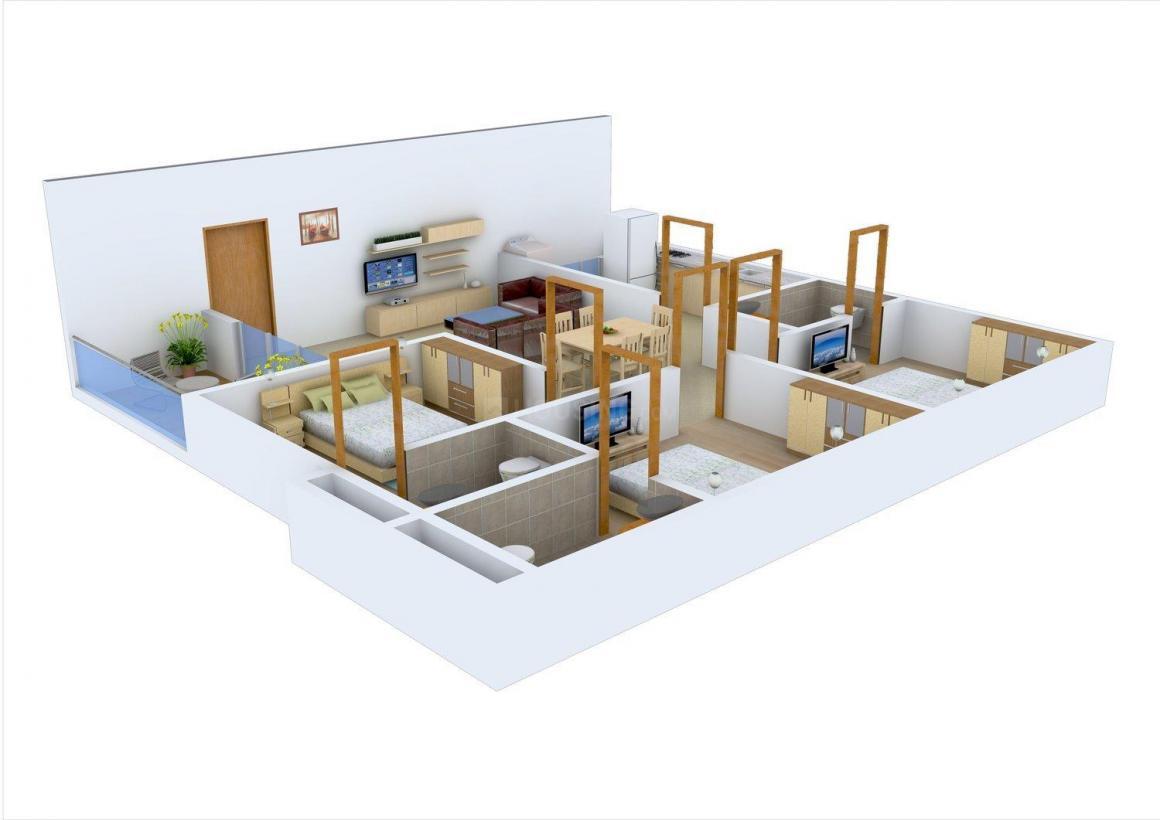 Floor Plan Image of 1422.0 - 1602.0 Sq.ft 3 BHK Apartment for buy in Vaishnovi TNR's