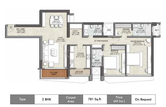 Kalpataru Magnus Floor Plan: 2 BHK Unit with Built up area of 781 sq.ft 1