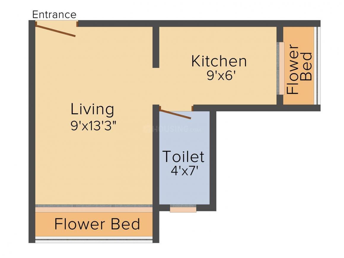 Trisha Krishna Homes Floor Plan: 1 BHK Unit with Built up area of 375 sq.ft 1