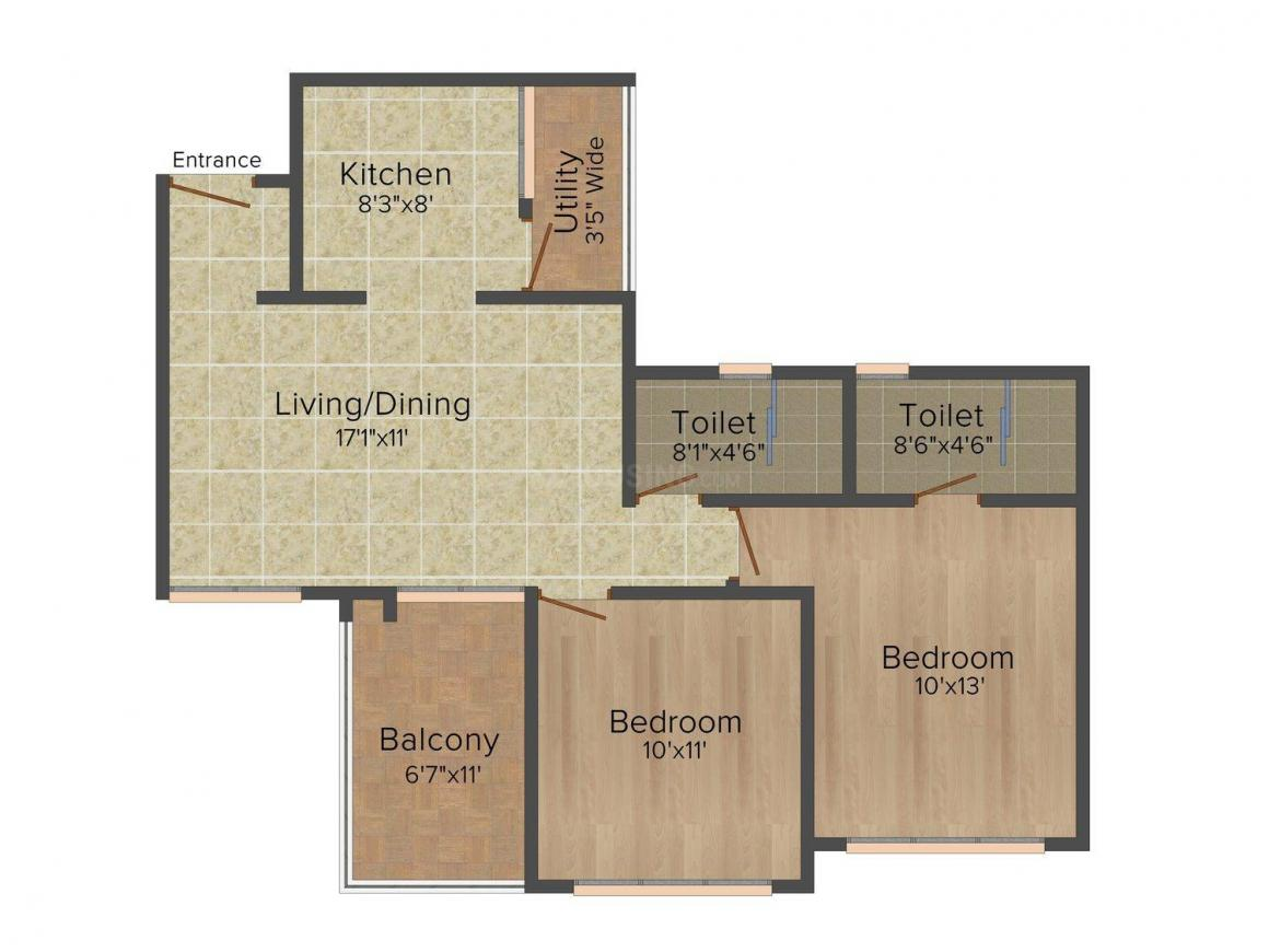 Floor Plan Image of 841.0 - 1363.0 Sq.ft 2 BHK Apartment for buy in Mittal Hillside