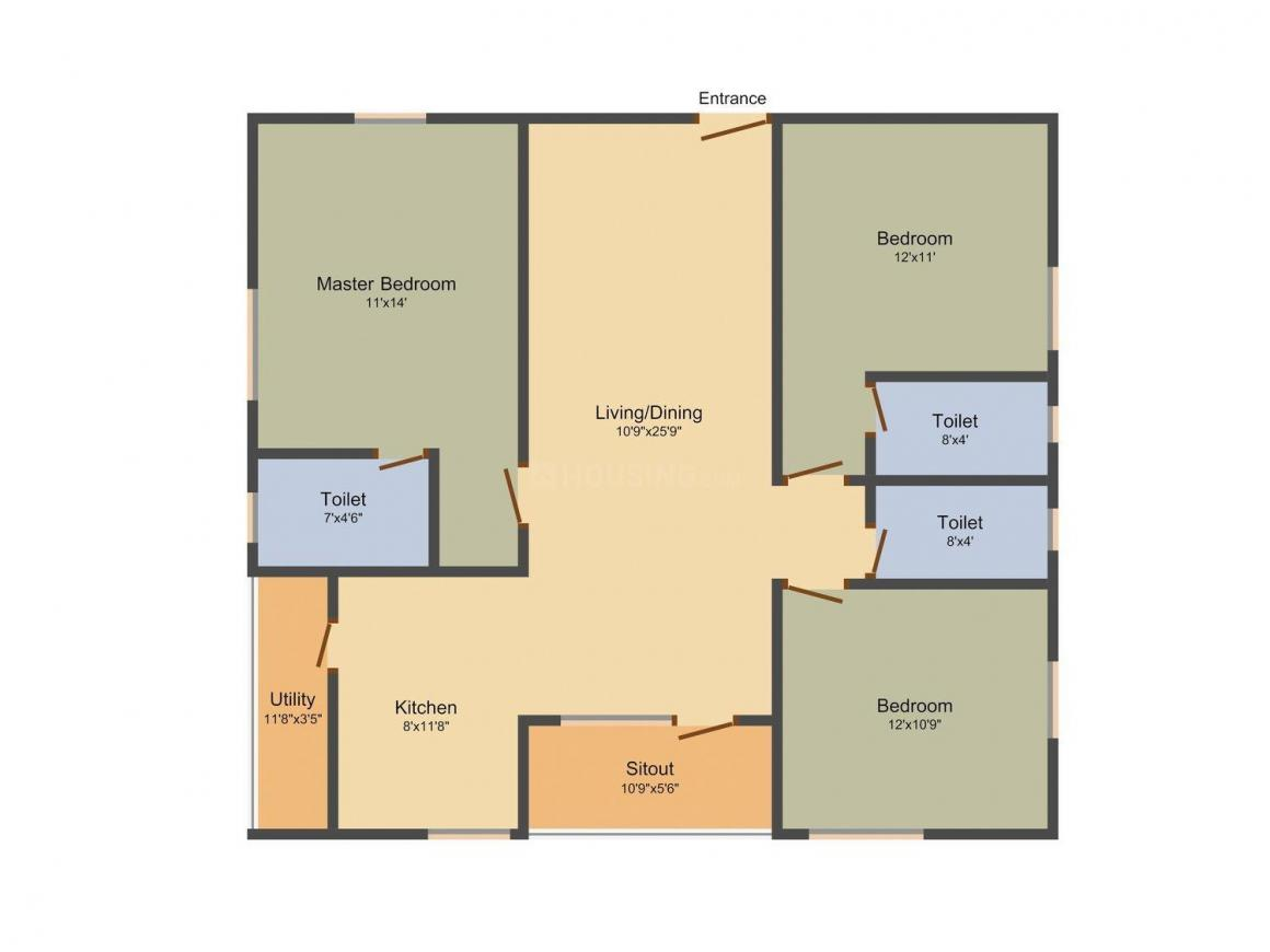 Floor Plan Image of 1165.0 - 1500.0 Sq.ft 2 BHK Apartment for buy in ADR Jayabharathi Heights