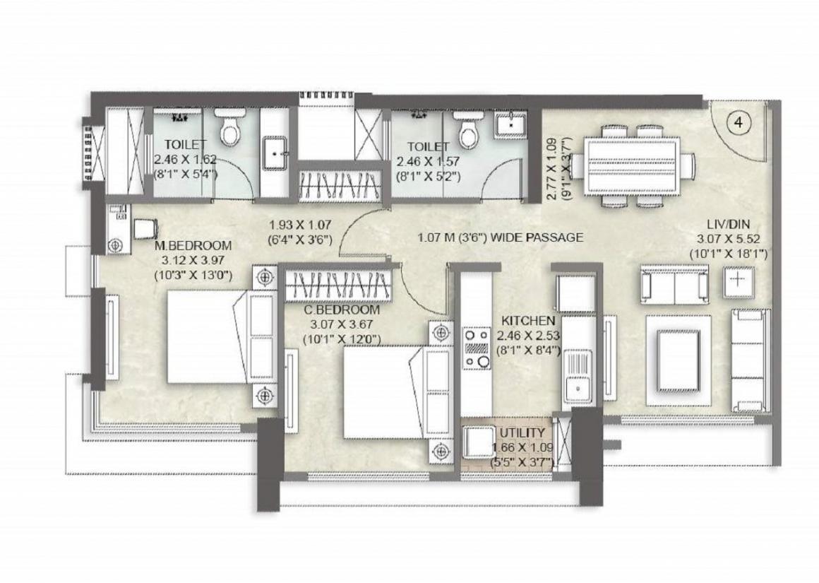Kalpataru Vienta Floor Plan: 2 BHK Unit with Built up area of 743 sq.ft 1