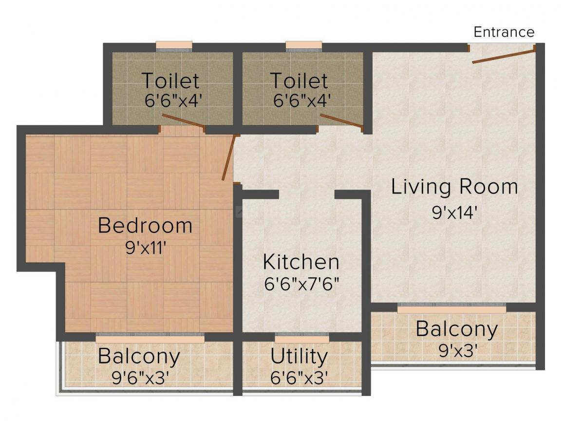 Floor Plan Image of 660.0 - 665.0 Sq.ft 1 BHK Apartment for buy in Ostwal Pride Phase - II