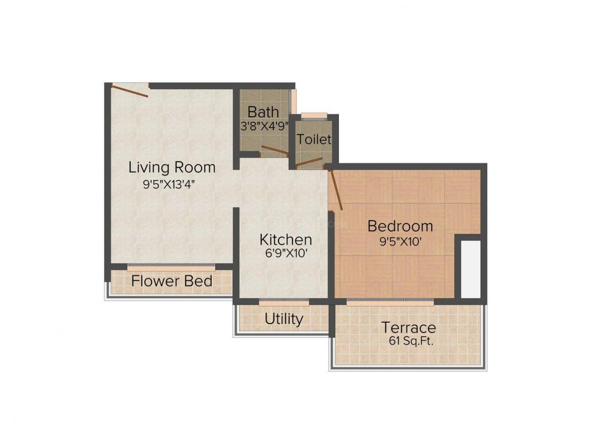 Floor Plan Image of 0 - 615.0 Sq.ft 1 BHK Apartment for buy in BKS Galaxy Tricity Grand