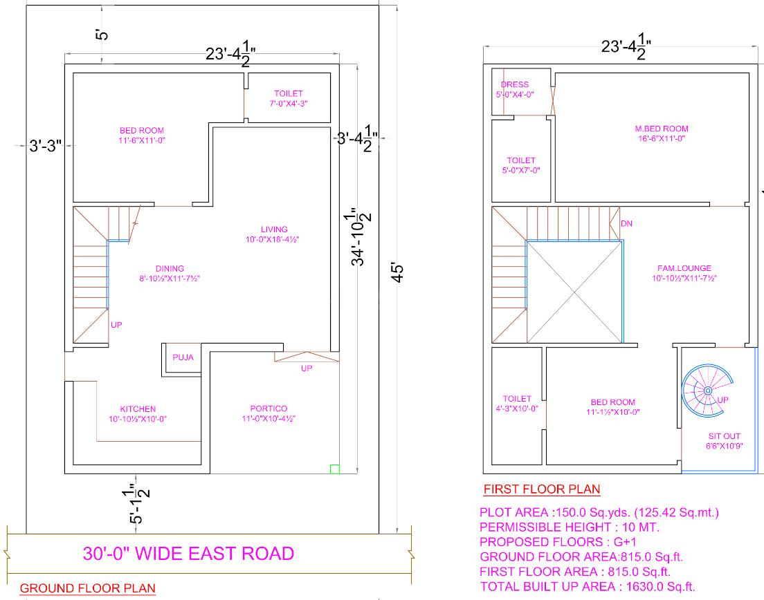 APR Praveens Luxuria Floor Plan: 3 BHK Unit with Built up area of 1630 sq.ft 1