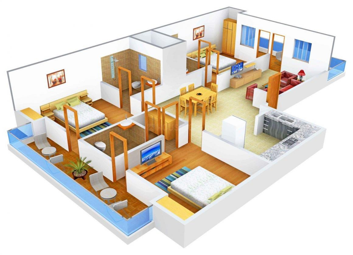 Floor Plan Image of 0 - 2700 Sq.ft 3 BHK Apartment for buy in SLR Spangle Floors A-214