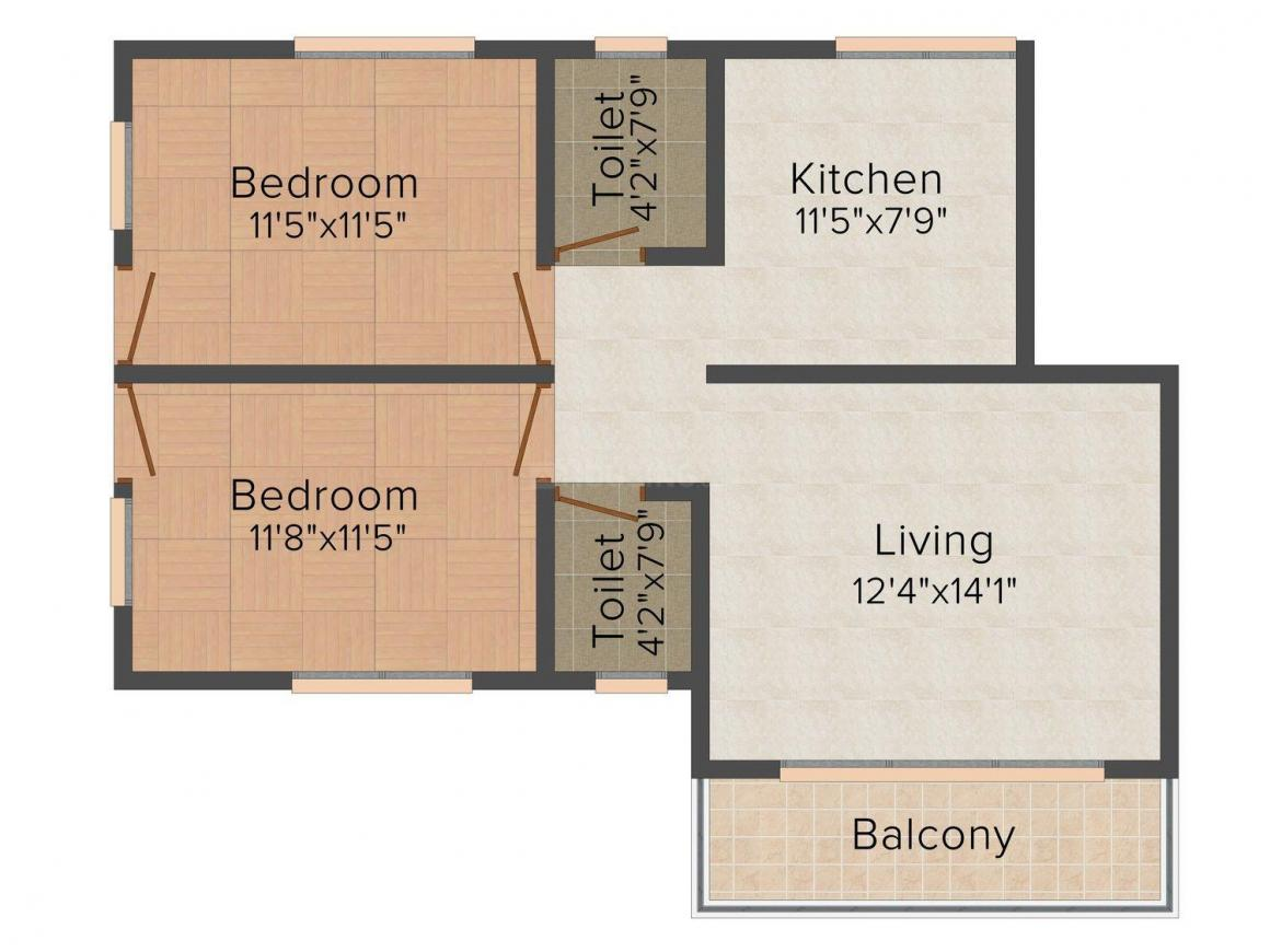 Floor Plan Image of 538 - 1668 Sq.ft 1 BHK Apartment for buy in Civilco Empire Village - I